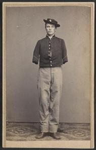 [Private William Sargent of Co. E, 53rd Pennsylvania Infantry Regiment, in uniform, after the amputation of both arms]  Bundy & Williams, photographer ca. 1861-65 1 photographic print on carte de visite mount : albumen ; 9.7 x 6.1 cm (mount) Library of Congress