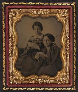 [Two unidentified women reading letters] ca. 1860-1870 1 photograph : approximate ninth-plate ambrotype, hand-colored ; 7.4 x 6 cm (case) Library of Congress